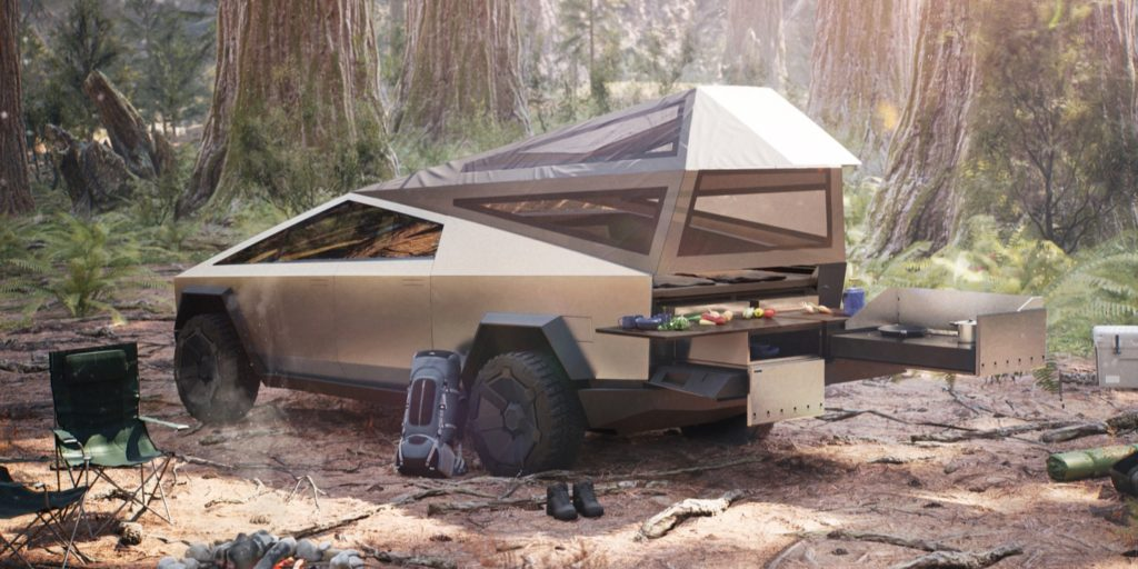 Tesla pickup truck is the best camping vehicle.